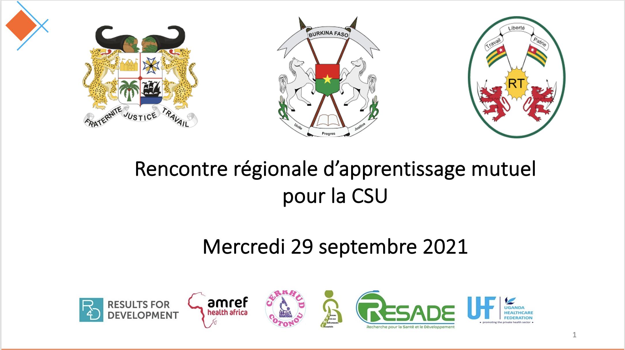 Le Bénin, le Burkina Faso et le Togo engagés pour une meilleure gouvernance de la CSU