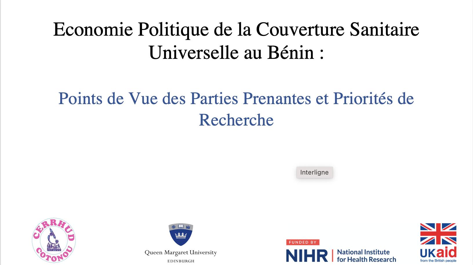 Économie politique de la Couverture Sanitaire Universelle au Bénin